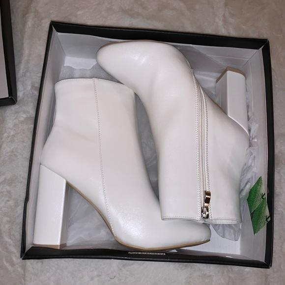 White Faux Leather Boots   Poshmark